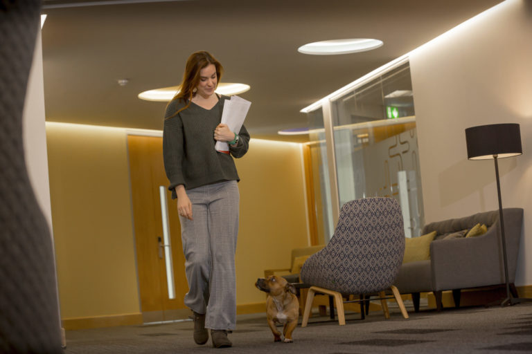 Laura McGrath from Quorum Business Park with her dog Chaplin Picture: DAVID WOOD